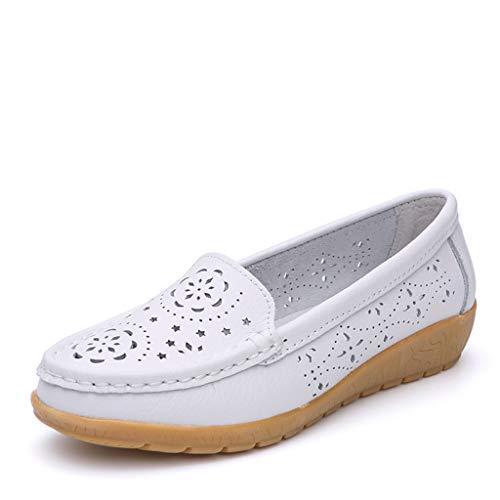 REALIKE Damen Sandalen Flache Schuhe Elegant Hohl Drucken Plateausandalen Bohemian Sommerschuhe Schuhe Knöchel Strandsandalen Frauen Business Bequem Touch ()