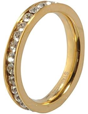 Melano Ring / Vorsteckring / Beisteckring Edelstahl beschichtet Farbe gold mit Zirkonia in Farbe kristall M01R...