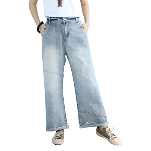 WanYang Donne Moda Pantaloni Di Gamba Larga Casuale Lungo Denim Pantaloni Retro Stile Jeans Con Vita Elastica Blu chiaro