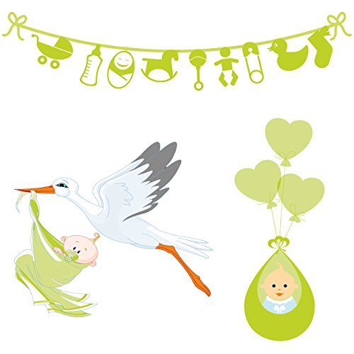 Baby Shower decoration neutral color, bunting and posters (Green color)