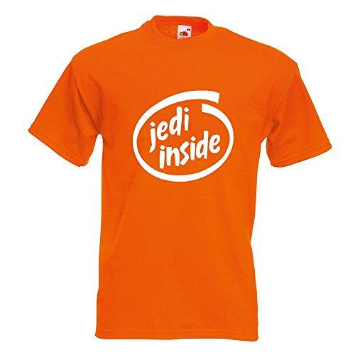KIWISTAR - Jedi inside T-Shirt in 15 verschiedenen Farben - Herren Funshirt bedruckt Design Sprüche Spruch Motive Oberteil Baumwolle Print Größe S M L XL XXL Orange