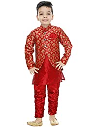 f01db6ef5 Generic Boys festive & Party Kurta, Waistcoat and Pyjama Set(Red)