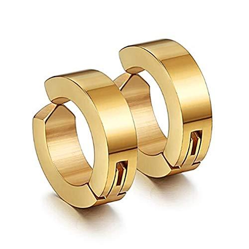 L_shop Ring Ohrclip Nette Nicht-Piercing Ohrringe Ohrclip Gefälschte Ohrreifen für Männer und Frauen Geschenk, Titan Stahl, Gold