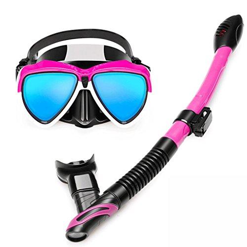 YC electronics Taucherbrille, voll trockener Schnorchel, galvanisiertes blaues Licht HD Anti-Fog-Objektiv, Schnorchel Vollmaske (Color : Pink)