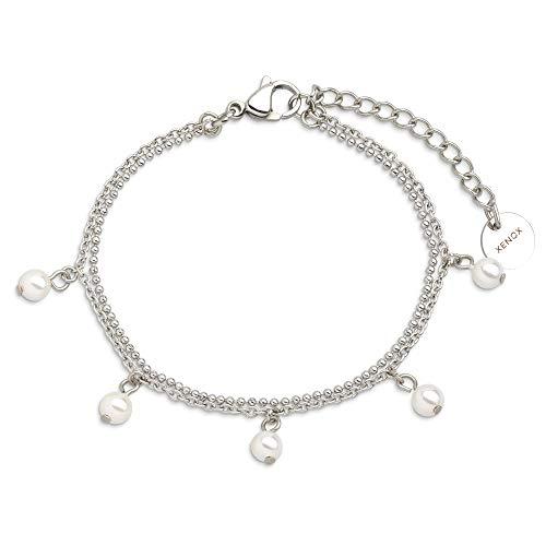 Xenox Damen-Armband URBAN JUNGLE aus Edelstahl (silber/Kunstperle)