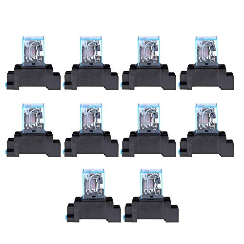 WEINANA AC 110V 10PCS Coil Power Relay LY2NJ DPDT 8 Pin PTF08A JQX-13F Socket Base Electronic Micro Mini Electromagnetic Module Switch -