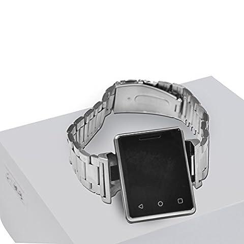 Montre bracelet LED/montre de sport Blanc/montre Bluetooth pour femme, montre téléphone pour enfants–Fitness tracker App anti-perte Fonction, écran tactile & support–[Argenté]