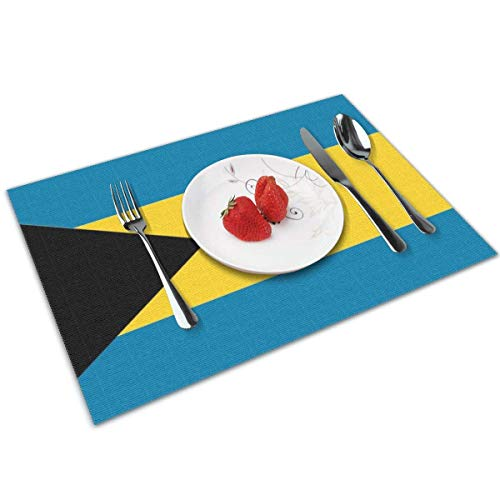 Funny&shirt Bahamas Flag Placemats,Non Slip Washable Placemats for Dining Table Wipe Clean Table Mats Set of 4 -
