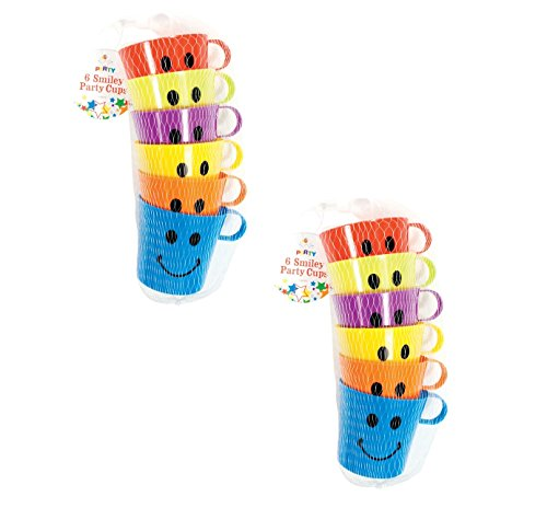 Fusion-cup (24x CHILDREN KIDS SMILEY MUGS CUPS WITH HANDLE FUN HOME CAMPING TRAVEL PLASTIC by PS-Ltd)