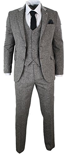 Suits Blazers Mens Grey 3 Piece Herringbone Tweed Suit Vintage