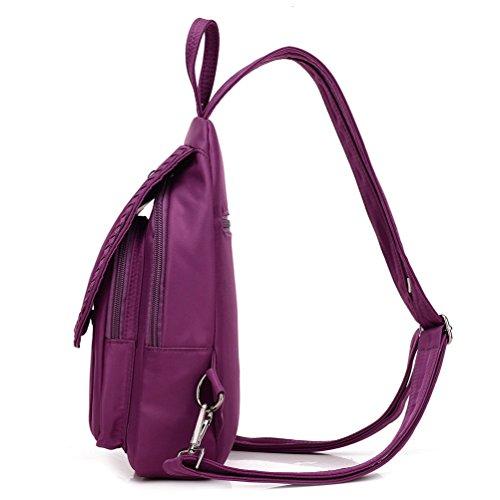Honeymall borse a zainetto donna piccolo nylon Ragazza leggero impermeabile Viola Nero