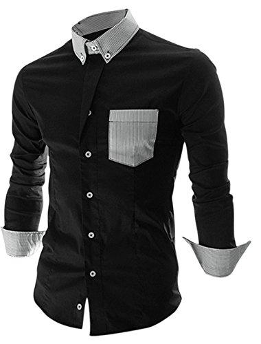 Herren Langarm Shirt gestreift Colorblock einreihig Schwarz - Schwarz