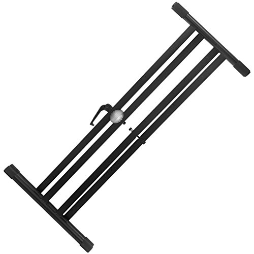Tiger Keyboard Stand with Securing Straps - Double Braced X Frame Keyboard Stand for 61 to 88 Key Keyboards and Digital Pianos