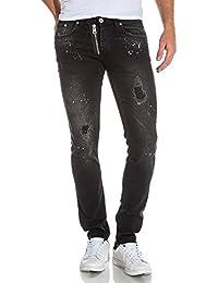 BLZ jeans - Jean slim noir délavé déchiré tacheté homme