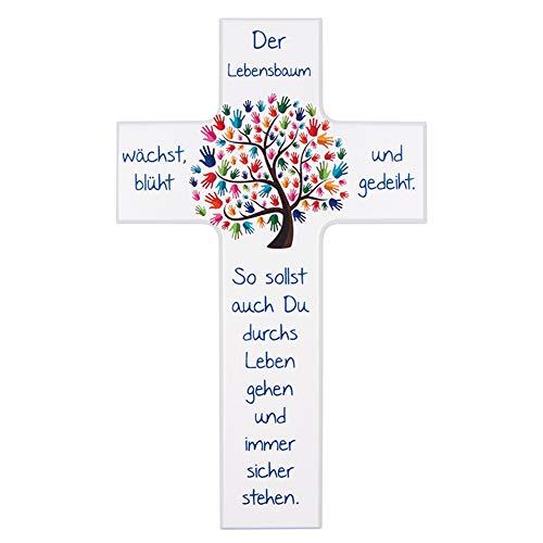 "Kinder- Holzkreuz: ""Lebensbaum"" 20 cm-Weiß"