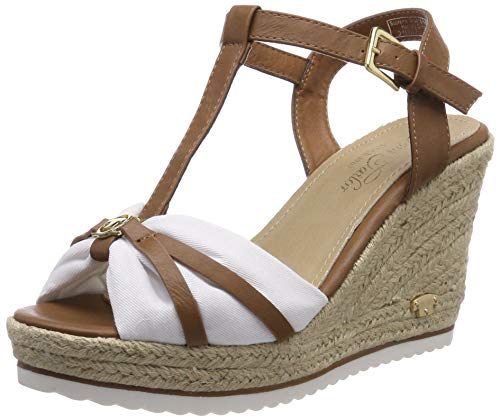 TOM TAILOR für Frauen Schuhe Sandaletten mit Keilabsatz Camel-White, 40