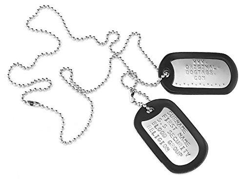 Placas de identificación personalizadas, estilo militar, en relieve, personalizables