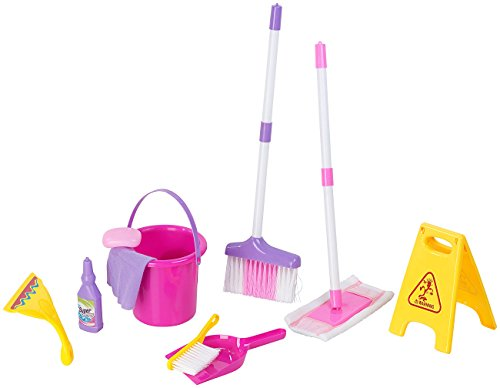 Playtastic Putzset Kinder: Spielzeug-Putz-Set für Kinder, 10-teilig (Kinderbesen)
