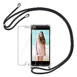 AROYI Handykette Handyhülle + Panzerglas Schutzfolie für iPhone 7 Plus / 8 Plus Hülle mit Kordel zum Umhängen Necklace Hülle mit Band Schutzhülle Transparent Silikon Case für iPhone 7 Plus / 8 Plus