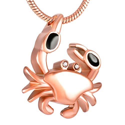 hänger Urne Halskette Uneral Andenken Asche Halskette Großhandel Edelstahl Krabben Feuerbestattung Urne Anhänger Für Frauen Und Männer @ Rose_Gold ()