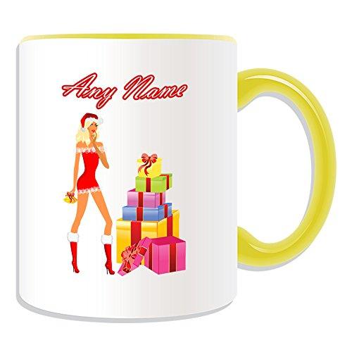 Personalisiertes Geschenk–Hot Xmas Blonde Girl Kaffeebecher (Sexy Lady Design Thema, Farbe Optionen)–alle Nachricht/Name auf Ihre einzigartige–Rot Kostüm Geschenk-Box, keramik, (Blonde Kostüme Cute)