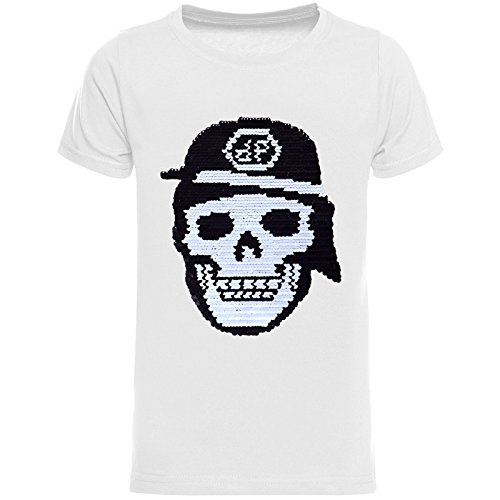 Camo Kinder-camouflage-t-shirt (BEZLIT Jungen T-Shirt Coolen Totenkopf Wende-Pailletten Motiv 22686 Weiß Größe 116)