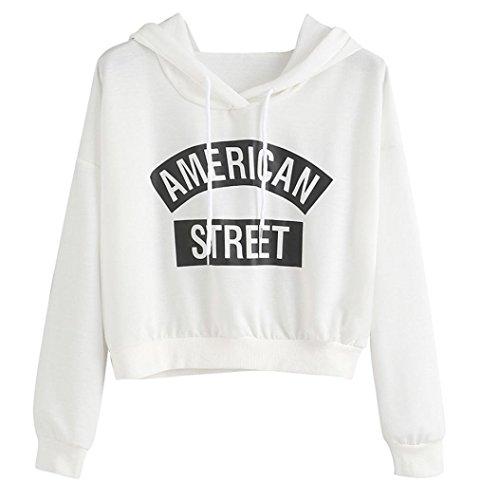 Kanpola Damen Sweatshirt Weiß Langarm Hoodie Kapuzenpullover Tops (S/36, Weiß) (Lauren Langarm Shirt Ralph Kleid)