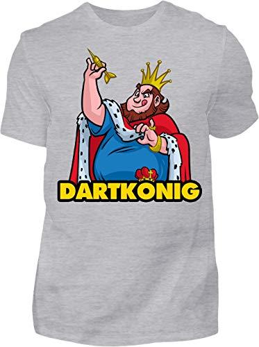 Kreisligahelden T-Shirt Herren Dartkönig - Kurzarm Shirt Baumwolle mit Motiv Aufdruck - Hobby Freizeit Fun Dart Darts 180 königlich (S, Grau)