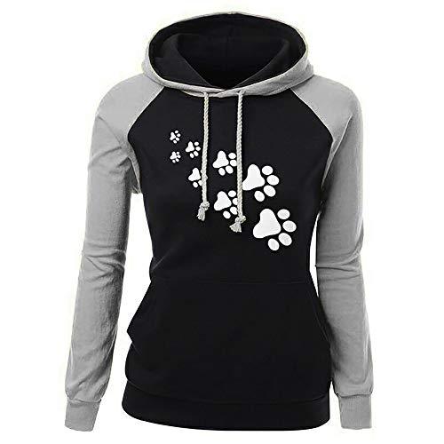 (Frauen Langarm Kapuzenpullis, MYMYG Damen Hoodies Langarm Kapuzenpulli Sweatshirt Pullover Tops Bluse Drucktasche Kapuzen Sweatshirt (A3-Grau,EU:40/CN-L))