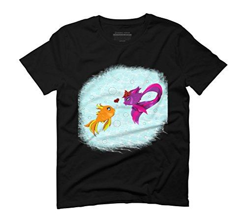 Fish love Men's Graphic T-Shirt - Design By Humans Black