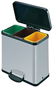 Hailo 3 x 11 Litre Trento Oko Recycling and Sorting Bin, Silver