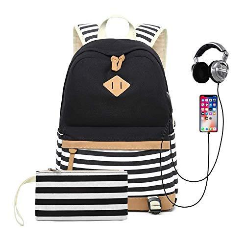 Schulrucksack Mädchen Teenager Canvas Rucksack, Damen Multifunktional Daypacks Laptop Rucksack 15.6 Zoll mit USB Port, für Schulen, Tourismus, Freizeit (Schwarz) -