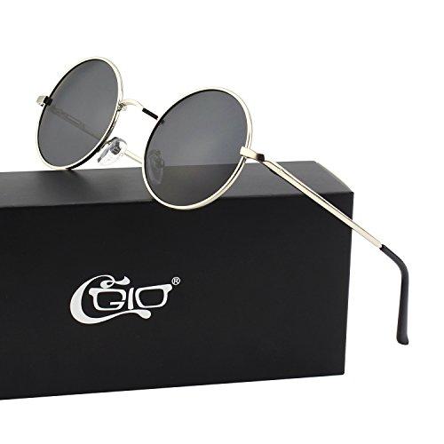 CGID E01 Petites lunettes de soleil polarisées inspirées du style retro vintage Lennon en cercle métallique rond Argenté Gris