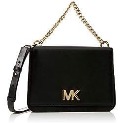 Michael Kors Mott Leather Crossbody, Sacs bandoulière femme, Noir (Black), 7x17x22.9 cm (B x H T)