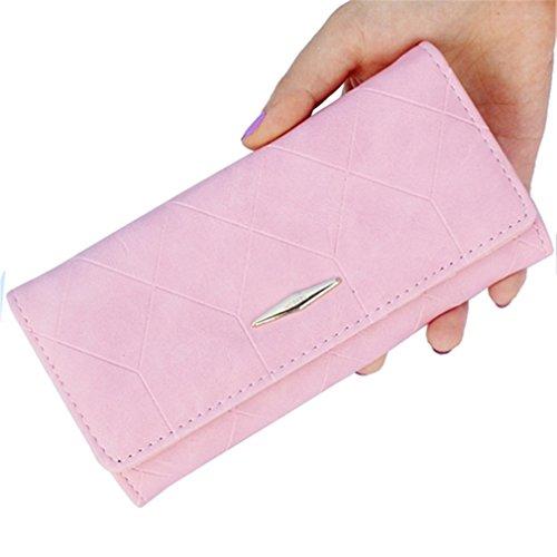 Yueling Fashion Ling Grid Geprägt Brieftasche GeldbörseLadies Clutch Lange PurseFemale Haspe Geldbörse Geldbörse Kartenhalter Pink (Brieftasche Fossil Geprägte)