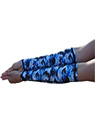 Blue Camouflage WITHOUT Thumbhole (Forearm Below Elbow With Pad Built In) - PAIR