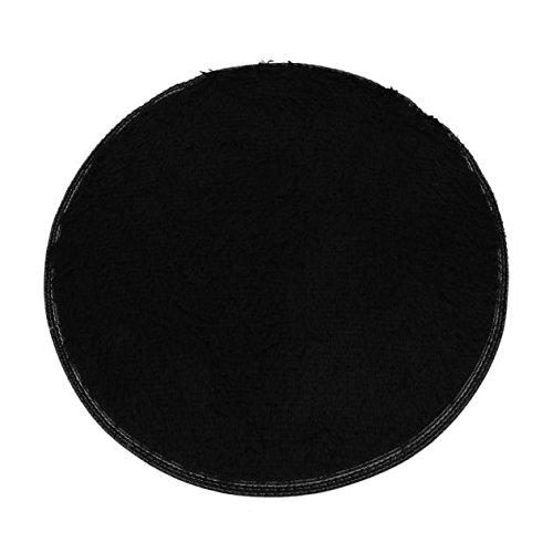 Runde Teppichmatten weiches Bad Schlafzimmer Boden Dusche runder Matte Teppich rutschfester (Schwarz)