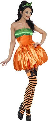 Kürbis Damenkostüm Orange mit Kleid und Haarreifen, Medium
