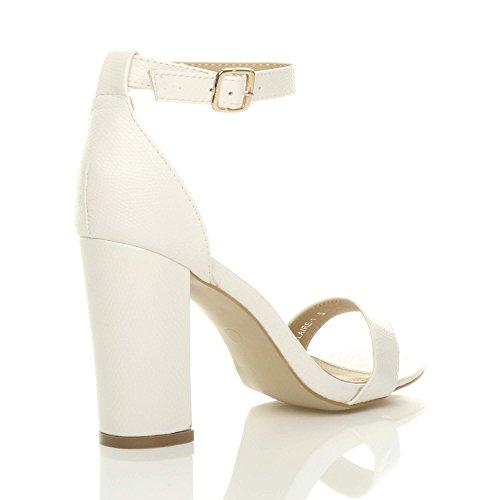 Damen Hochblockabsatz Riemchen Peep Toe Schuhe Knöchelriemen-Sandalen Größe Weiß Eidechse