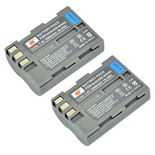 DSTE 2-Pack Rechange Batterie pour Nikon EN-EL3E D30 D50 D70 D70S D80 D90 D100 D200 D300 D300S DSLR D700