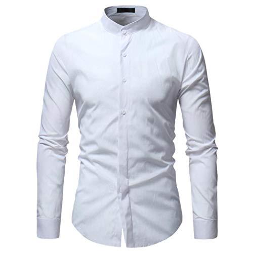 MRULIC Herren Oktoberfest Kostüm Herren Hemd Button-down Langarmshirt(Weiß,EU-48/CN-XL) (Edc Kostüm Männer)