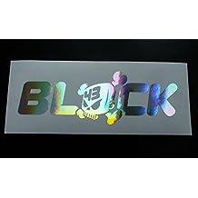 BLOCK Solid Ken Hoonigan Silver Hologram Chrome Die Cut Vinyl Car Sticker Decal 200mm x 67mm