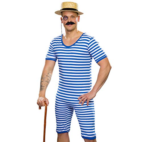 NET TOYS Gestreifter Badeanzug Herren Retro | Blau-Weiß in Größe L (52/54) | Sportliches Männer-Kostüm Ringelbadeanzug Nostalgie | EIN Highlight für Mottoparty & Kostümfest