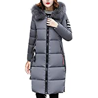 SoonerQuicker Women Solid Casual Thicker Winter Slim Down Lammy Jacket Coat Overcoat mid-Length Long fur Collar Thick down Jacket