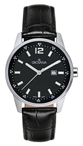 Grovana, orologio unisex, al quarzo, quadrante analogico nero, cinturino in pelle nera, 7715.1537