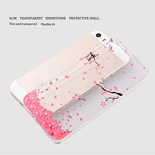 iPhone 5S Custodia, iPhone 5 Custodia, iPhone SE Cover Silicone Trasparente, JAWSEU Cristallo Chiaro Diamante Bling Glitter Ultra Sottile Soft Gel TPU ...
