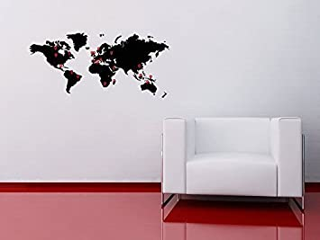 World map wall sticker with pointers atlas globe decal home dcor world map wall sticker with pointers atlas globe decal home dcor office shop travel countries amazon kitchen home gumiabroncs Images