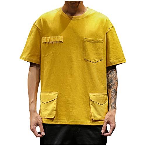 TWISFER Herren Sommer Casual Einfarbig Baumwolle T-Shirt Männer Halber Ärmel O-Ausschnitt mit Multi-Tasche Sommerbekleidung Für Herren Streetwear T-Shirt-Oberteile