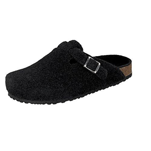 Softwaves Herren Filz Pantoffeln 511-064 schwarze Hausschuhe (40)