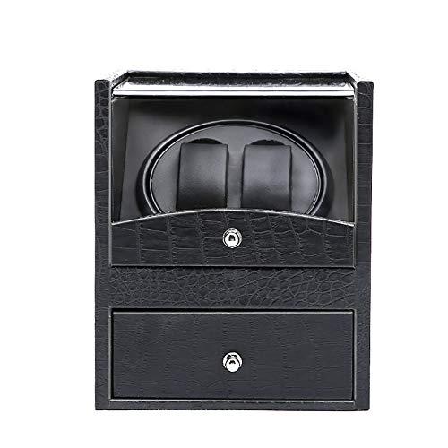 YRHG Doppelter automatischer Uhrenbeweger 2 UhrenSchwarzes Krokodilleder-Imitat, Automatic Watch Winders Aufbewahrungsbox mit Zwei Uhren für automatische mechanische Uhren